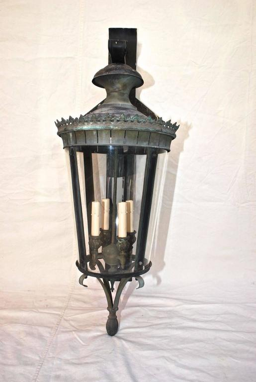 Large 1940 Brass Metal Outdoor Sconces With The Matching