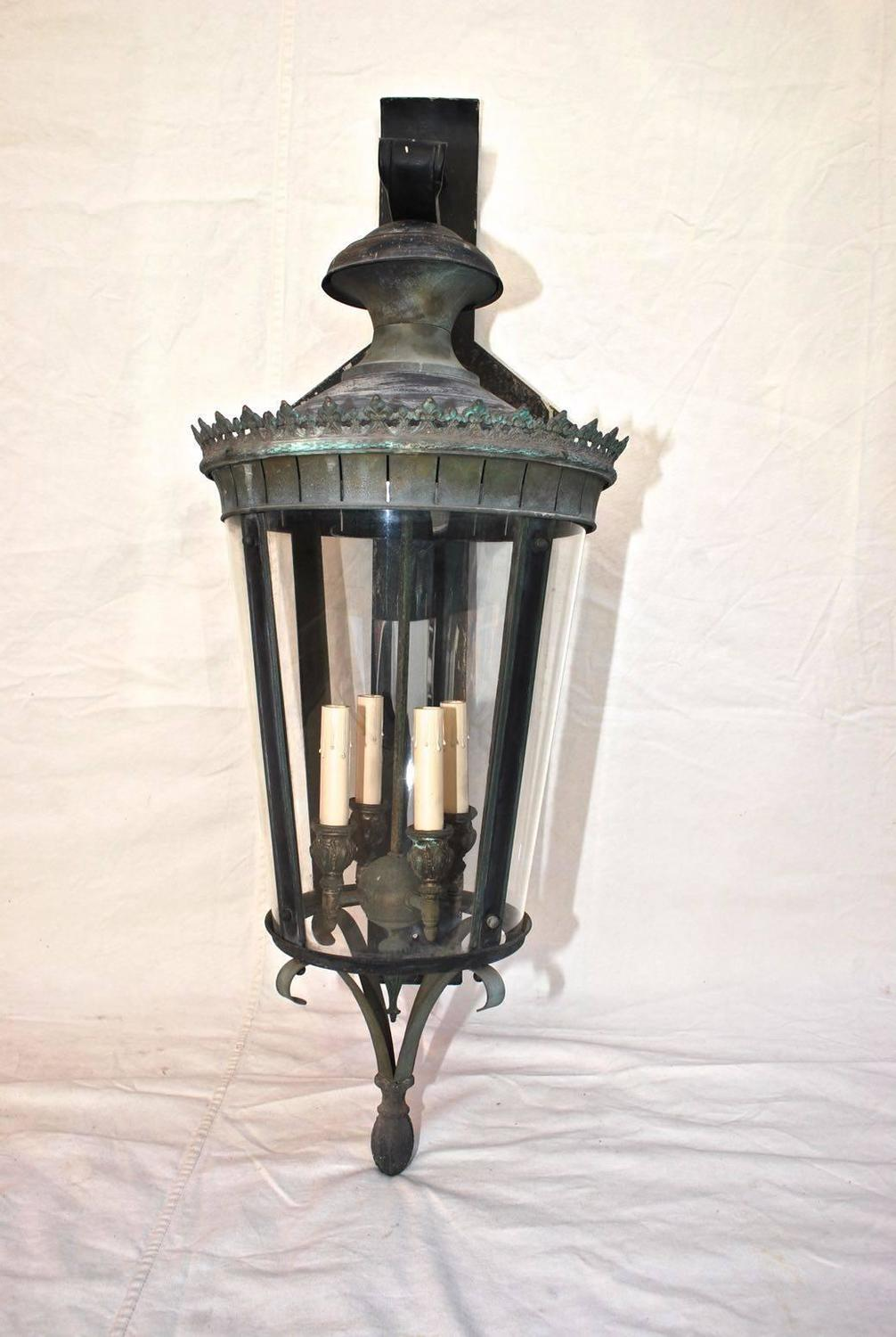Metal Outdoor Wall Sconces : Large 1940 Brass/Metal Outdoor Sconces with the Matching Lantern at 1stdibs