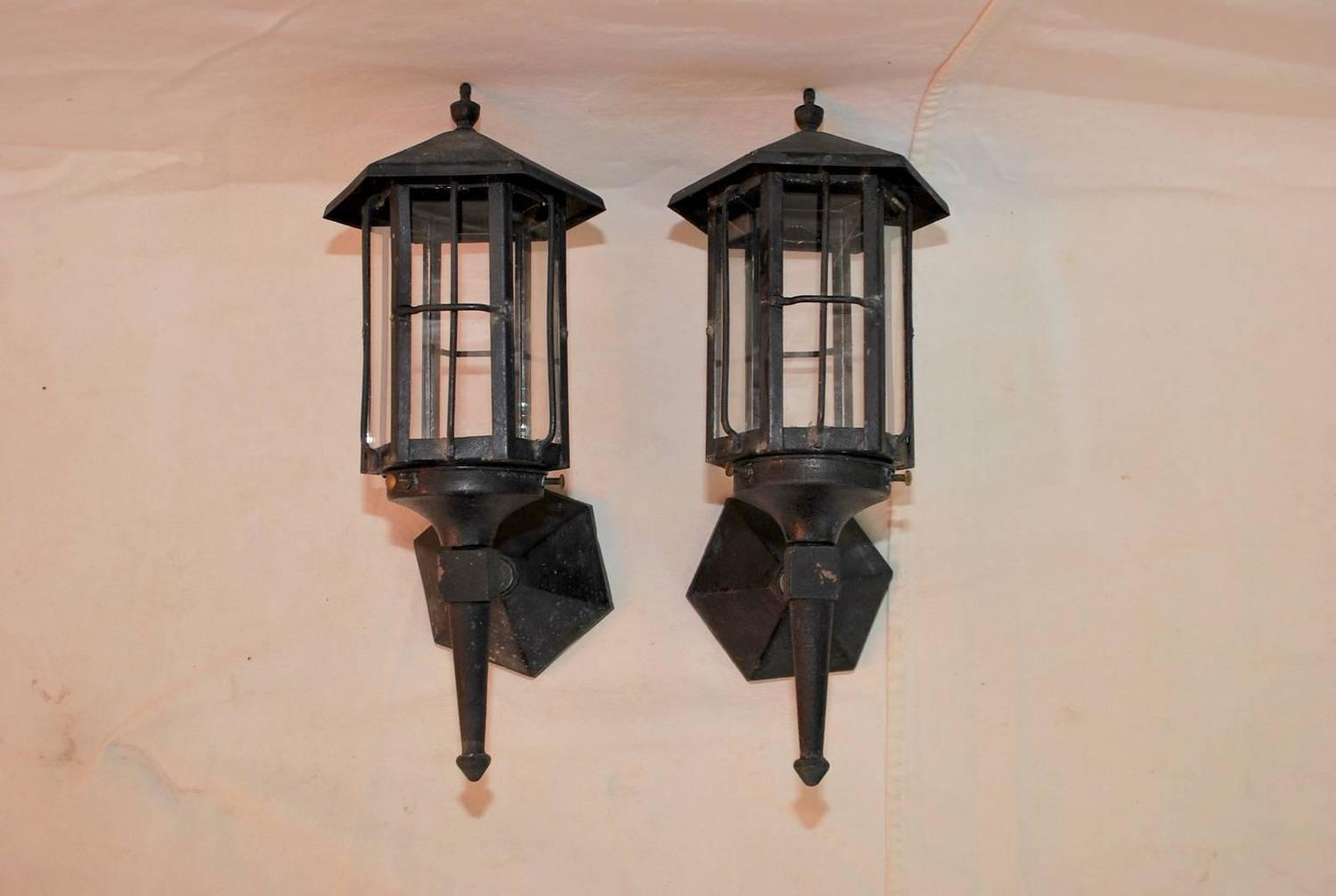 Very Nice Small Pair of 1920 Wrought Iron Outdoor Sconces For Sale at 1stdibs