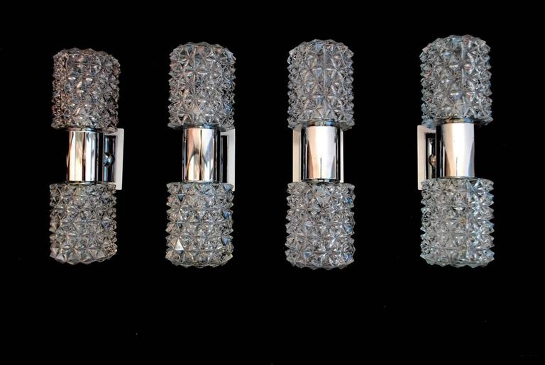 Beautiful Set of Four 1960s Italian Sconces Design by Targetti Sankey For Sale at 1stdibs
