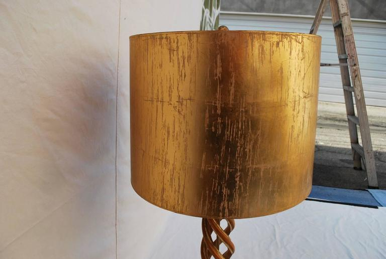 American Elegant Carved Wood Helix Table Lamp by Frederick Cooper Studios For Sale