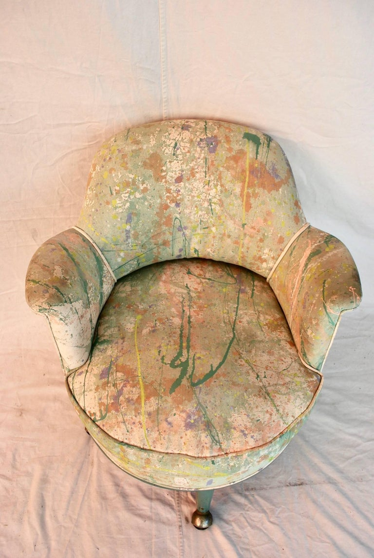 A very rare Monteverdi young chair with Jack lennor Larsen hand-painted fabric, it is quite rare All original, the patina is so much more beautiful in person.