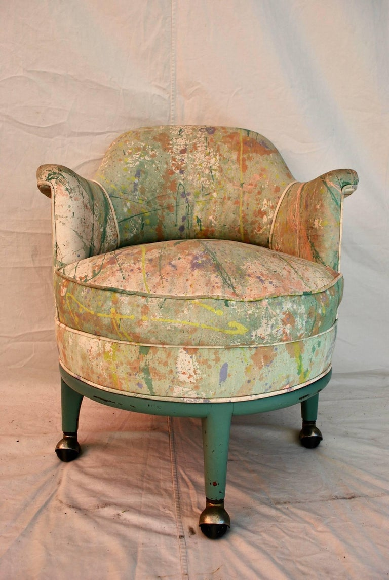 Mid-Century Modern Very Rare Monterverdi Young Chair with Hand-Painted Jack Lenor Larsen Fabric For Sale