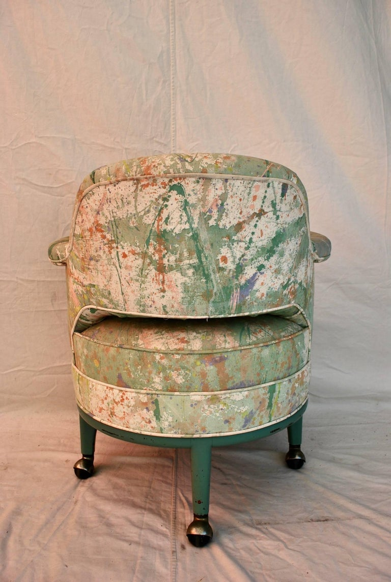 American Very Rare Monterverdi Young Chair with Hand-Painted Jack Lenor Larsen Fabric For Sale