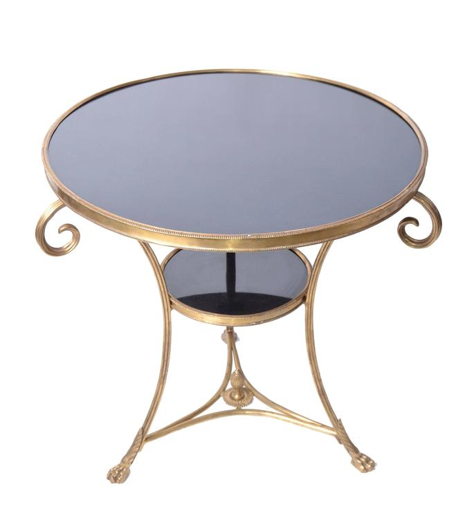Marble Coffee Table Heavy: French Round Brass And Marble Side Table At 1stdibs