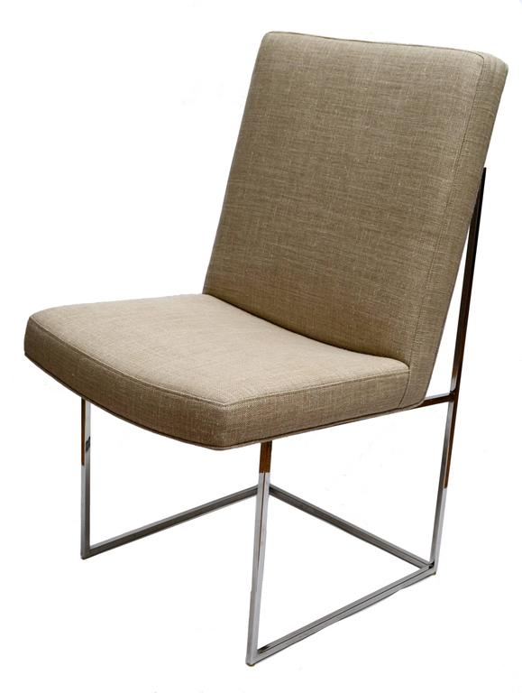 Mid-Century Modern set of six Milo Baughman dining room chairs.  Recently reupholstered in a professional manner.  We use only the very best materials and fabrics so you can enjoy these chairs for many years to come.