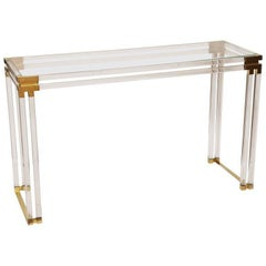 Charles Hollis Jones Style Lucite and Brass Console