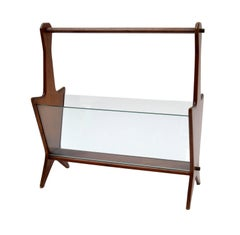 Italian Mahogany and Glass Magazine Rack from the 1950s