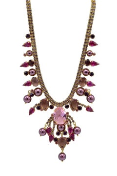 Italian Costume Runway Necklace in Violet and Pink by Justin Joy