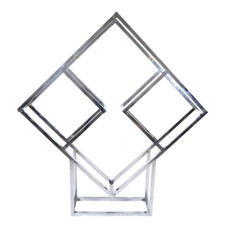 1970s Chrome Geometric Diamond Shaped Etagere