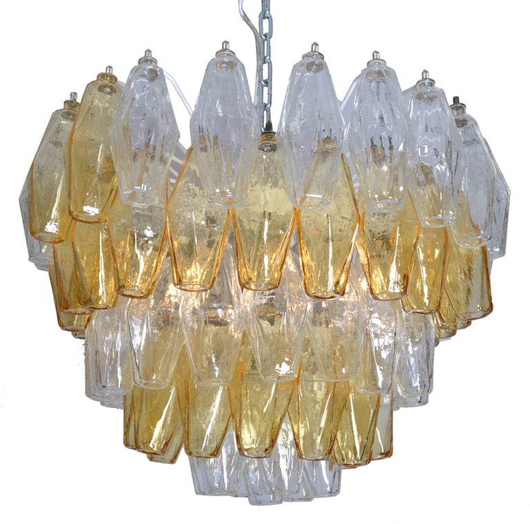 Mid-Century Modern Carlo Scarpa Five-Layer Polyhedral Chandelier. For Sale