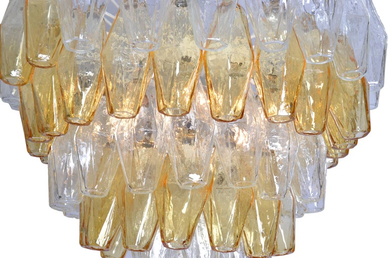 Glass Carlo Scarpa Five-Layer Polyhedral Chandelier. For Sale