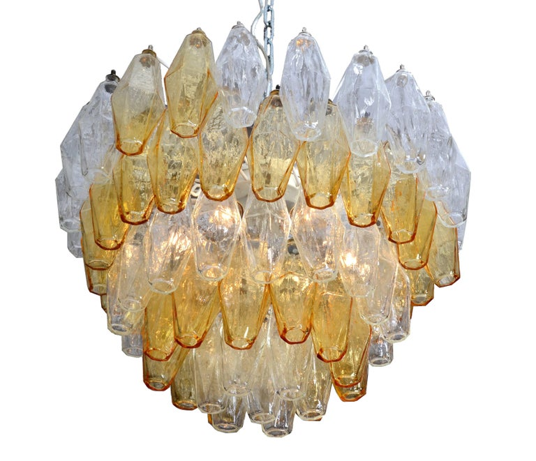 Chandelier by Carlo Scarpa for Venini with five layers of polyhedral blown glass ornaments.