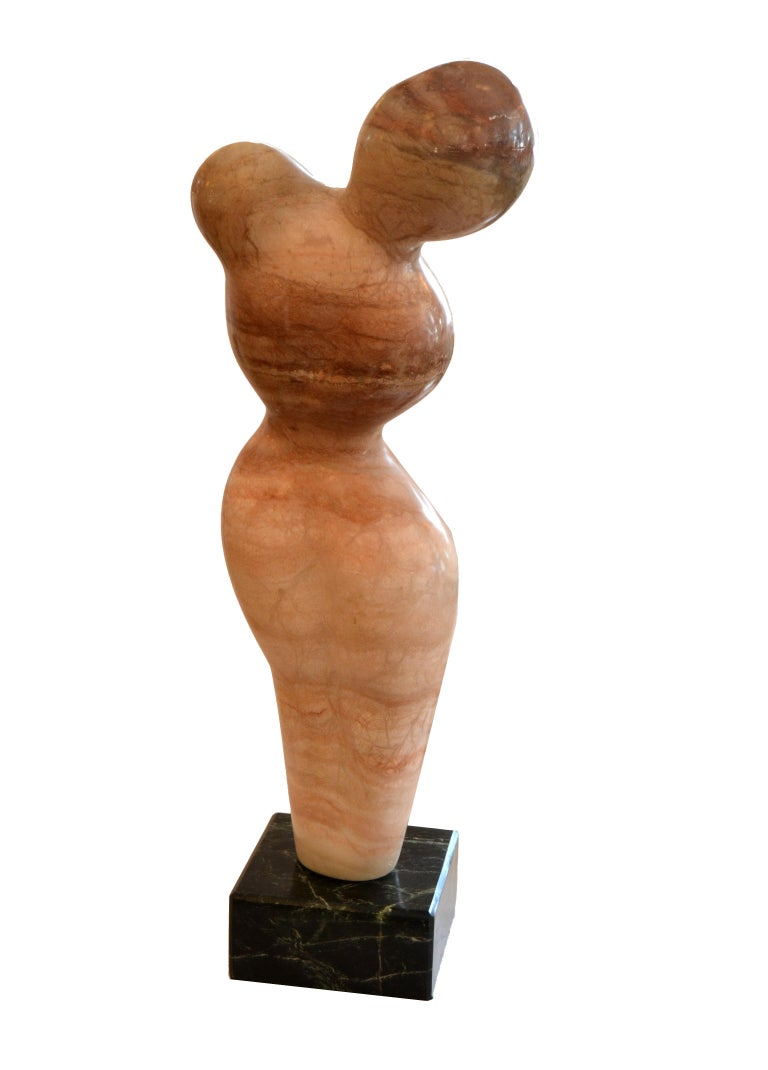 Signed Paporter 20th Century Female Nude Marble Sculpture In Excellent Condition For Sale In North Miami, FL