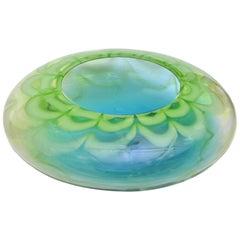 Waterford Crystal signierte Kunstglas-Schüssel, Tischvase, grün und blau