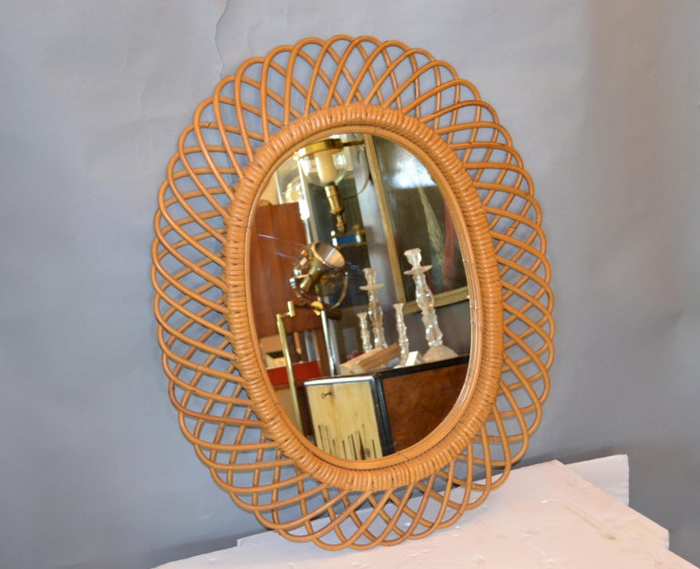 Mid-Century Modern Handcrafted Vintage Oval Bent Rattan Mirror For Sale