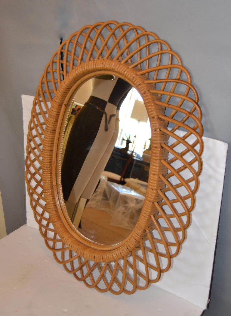 American Handcrafted Vintage Oval Bent Rattan Mirror For Sale