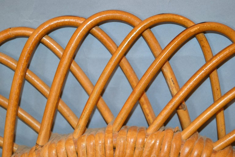 20th Century Handcrafted Vintage Oval Bent Rattan Mirror For Sale