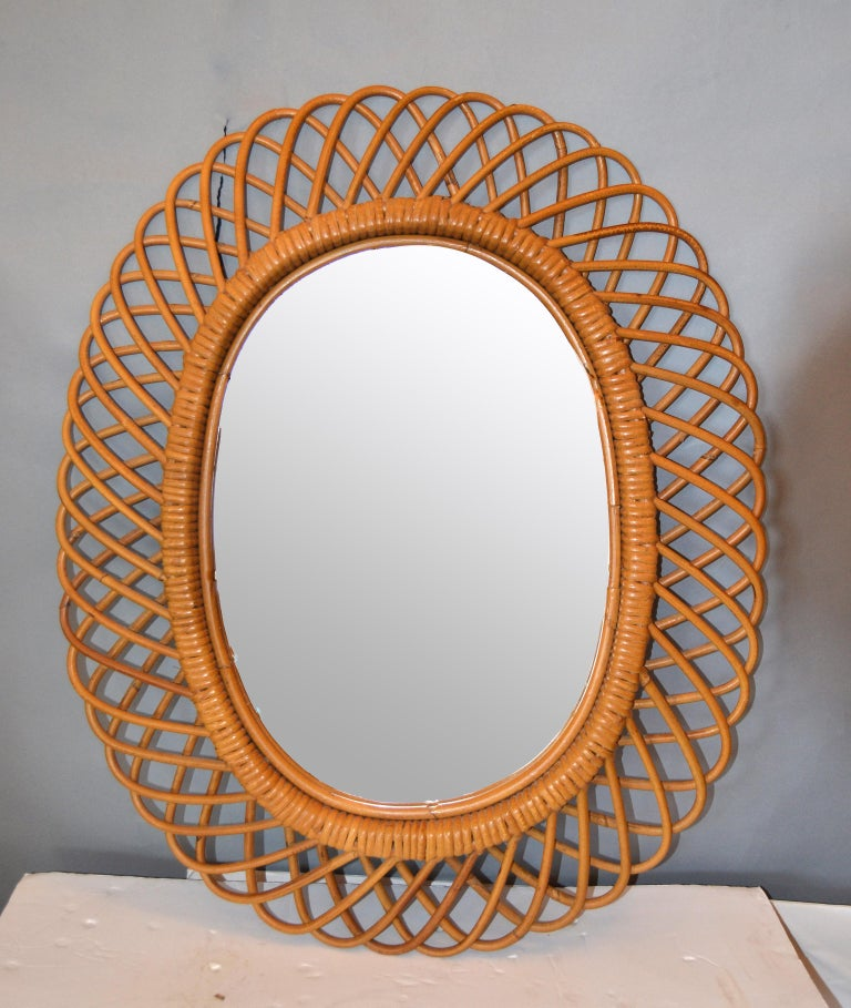Handcrafted Vintage Oval Bent Rattan Mirror For Sale 2