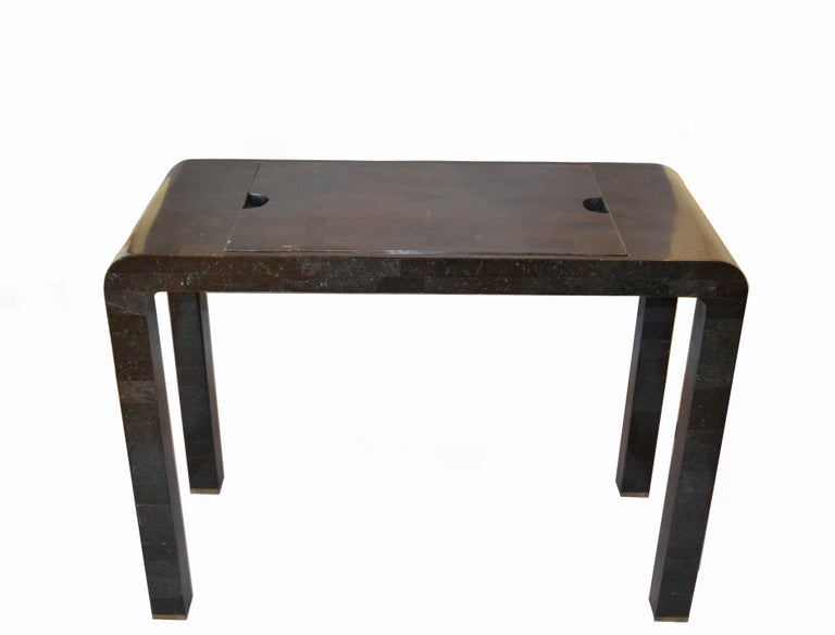 Mid-Century Modern Maitland Smith Tessellated Stone over Wood Game Table Console For Sale