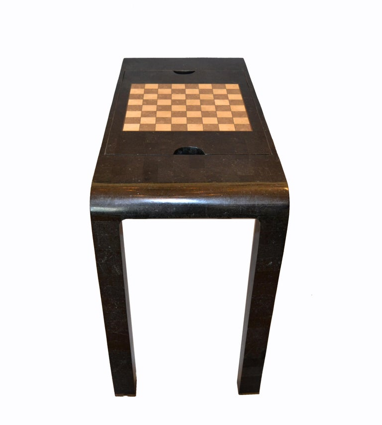 Philippine Maitland Smith Tessellated Stone over Wood Game Table Console For Sale
