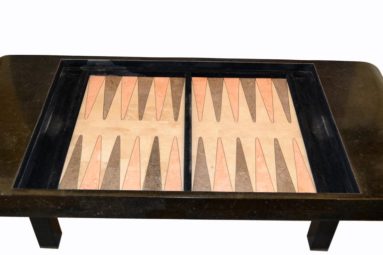 20th Century Maitland Smith Tessellated Stone over Wood Game Table Console For Sale