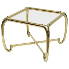 Mastercraft Attributed Heavy Brass Glass Side Table, Italy
