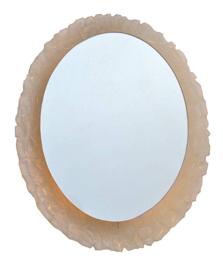 Round or oval cast resin lit mirror at 1stdibs for Mirror mirror cast