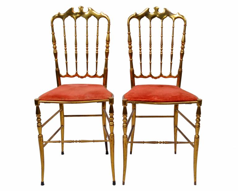 Merveilleux Set Of Six Bronze Chiavari Chairs With Original Pink Velvet Upholstery.