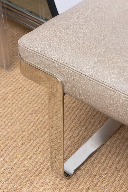 Long Bench With Faux Shagreen Leather On Chrome Base Pace