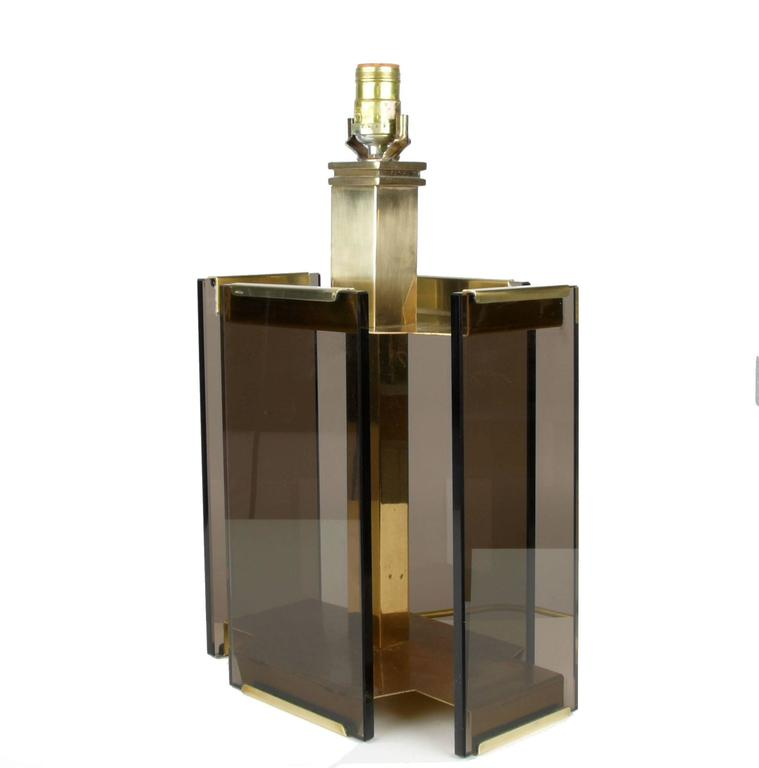 Paul Hanson Brass And Smoked Glass Table Lamp By Fratelli