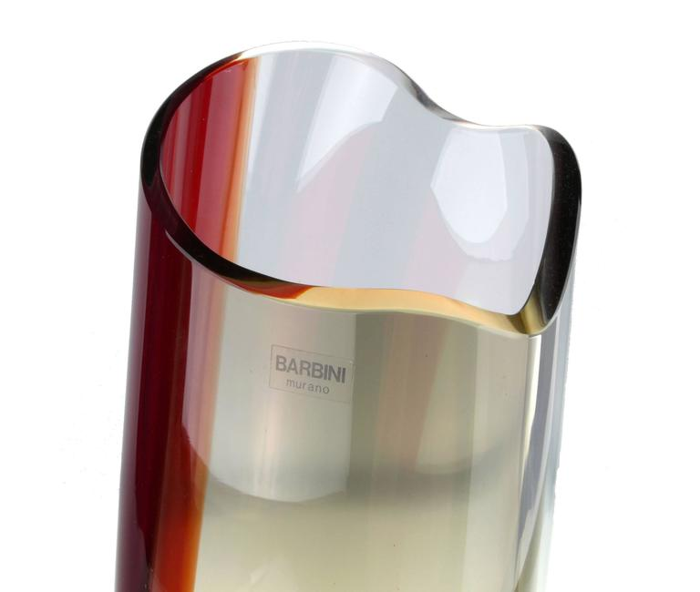 Alfredo Barbini handblown Murano glass vase.  Made in Italy.  Signed and numbered.