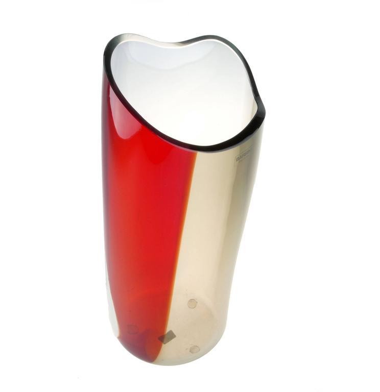 Original Alfredo Barbini Handblown Murano Glass Vase In Excellent Condition For Sale In North Miami, FL