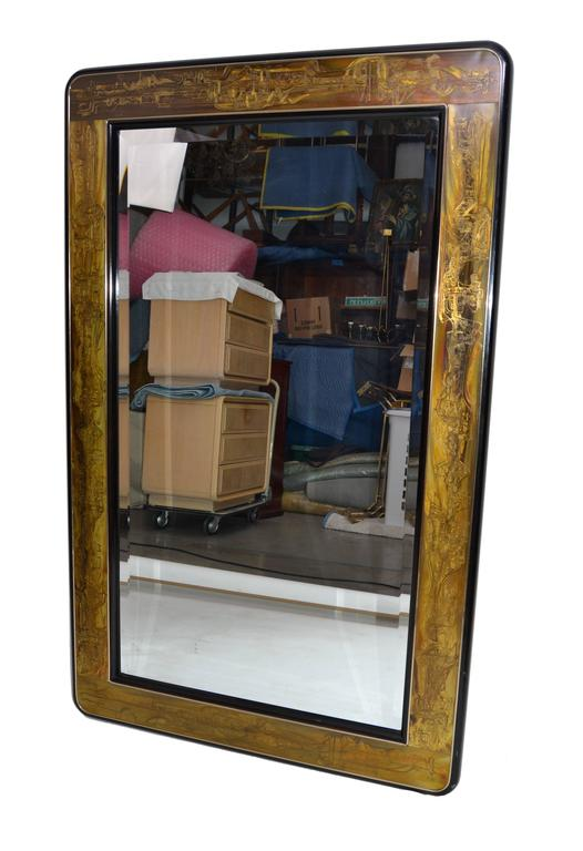 Original Bernhard Rohne Acid Etched and beveled Mirror for Mastercraft. Can be hung horizontal. Great quality and outstanding craftsmanship.