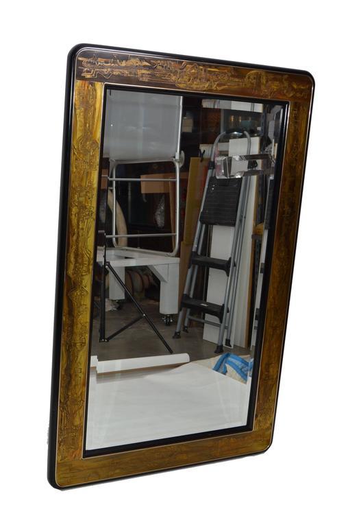 Modern Original Bernhard Rohne Acid Etched Mirror for Mastercraft For Sale