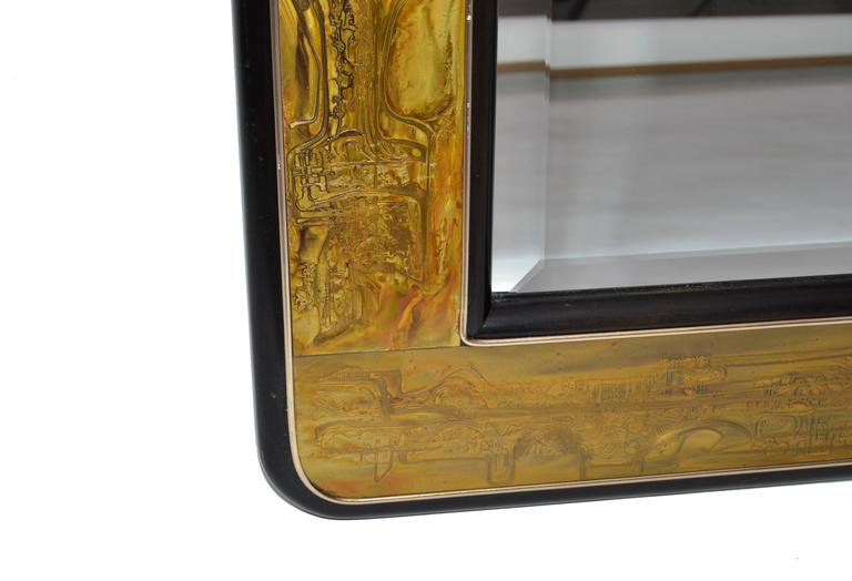 Original Bernhard Rohne Acid Etched Mirror for Mastercraft In Excellent Condition For Sale In North Miami, FL