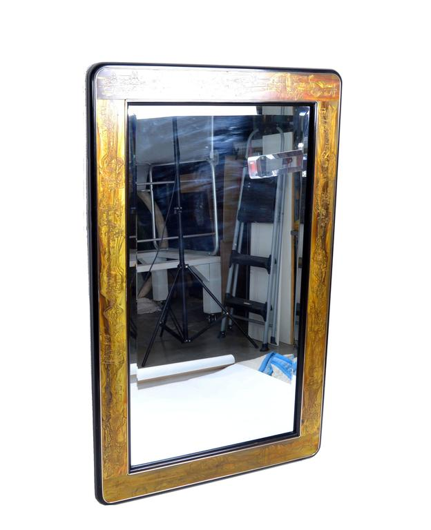 Late 20th Century Original Bernhard Rohne Acid Etched Mirror for Mastercraft For Sale