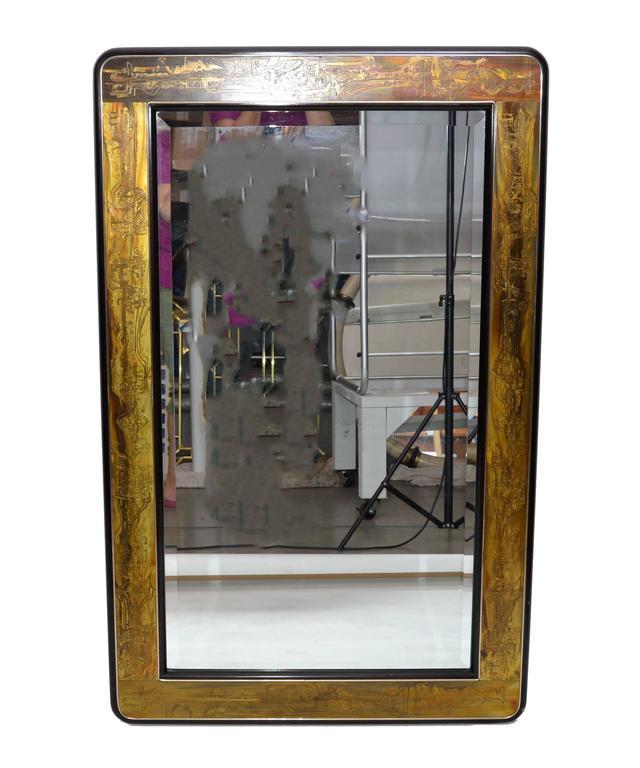Original Bernhard Rohne Acid Etched Mirror for Mastercraft For Sale 2