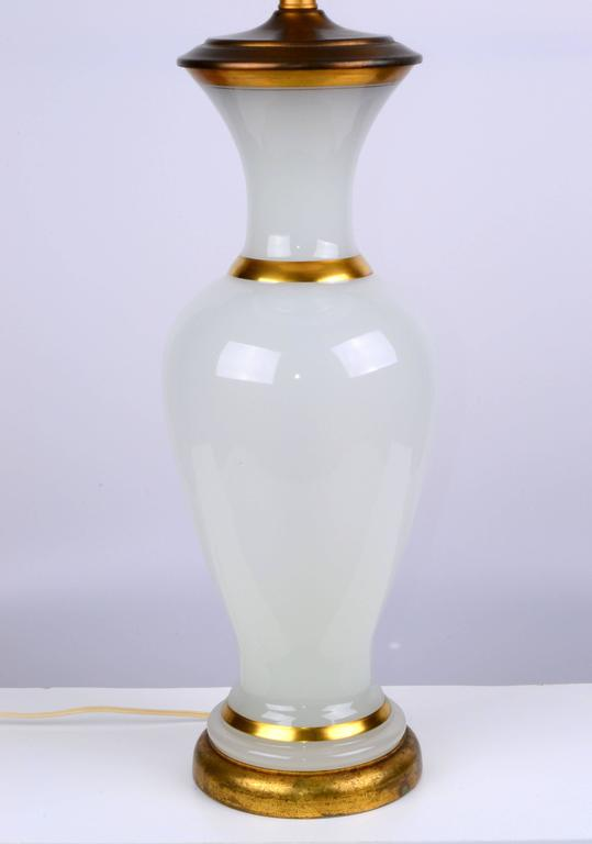 Mid-Century Modern Stunning 1950s Opal Glass and Brass Table Lamp For Sale