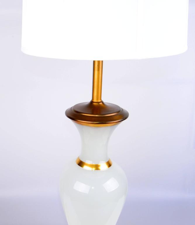 American Stunning 1950s Opal Glass and Brass Table Lamp For Sale