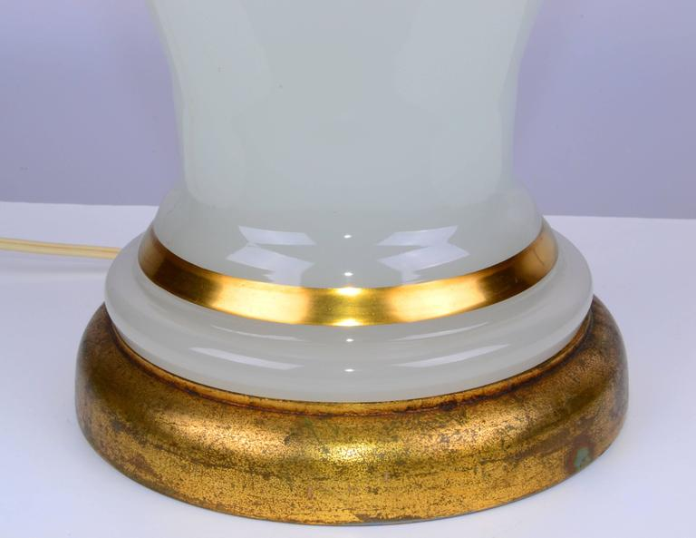 Mid-20th Century Stunning 1950s Opal Glass and Brass Table Lamp For Sale