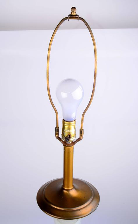 Stunning 1950s Opal Glass and Brass Table Lamp For Sale 1