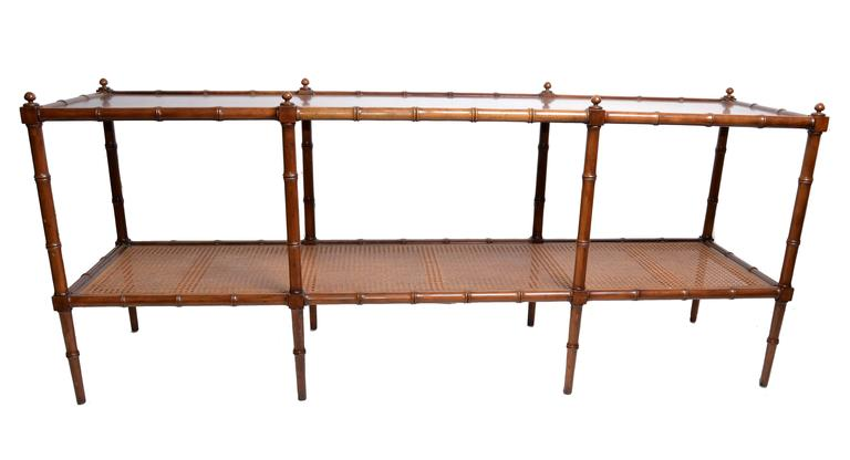 Faux Bamboo And Rattan Console Table By Baker Furniture At