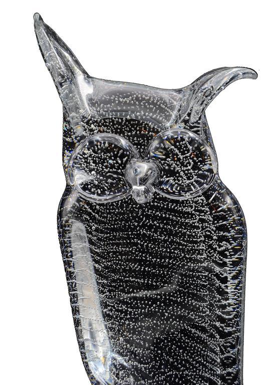 Mid-Century Modern Licio Zanetti Murano Glass Owl with Bubbles For Sale