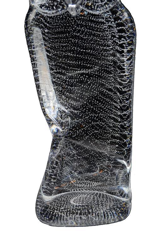 Licio Zanetti Murano Glass Owl with Bubbles For Sale 1