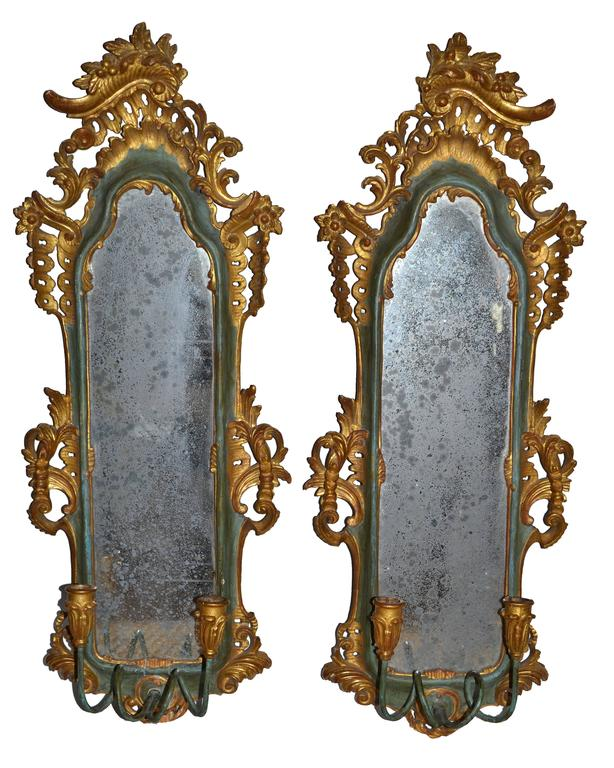 Italian Florentine Giltwood and Mirrored Wall Sconces, Pair at 1stdibs