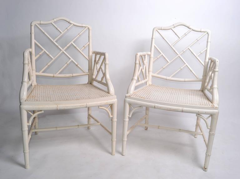 Chinese Chippendale Hollywood Regency Faux Bamboo Chippendale Armchairs, Pair For Sale