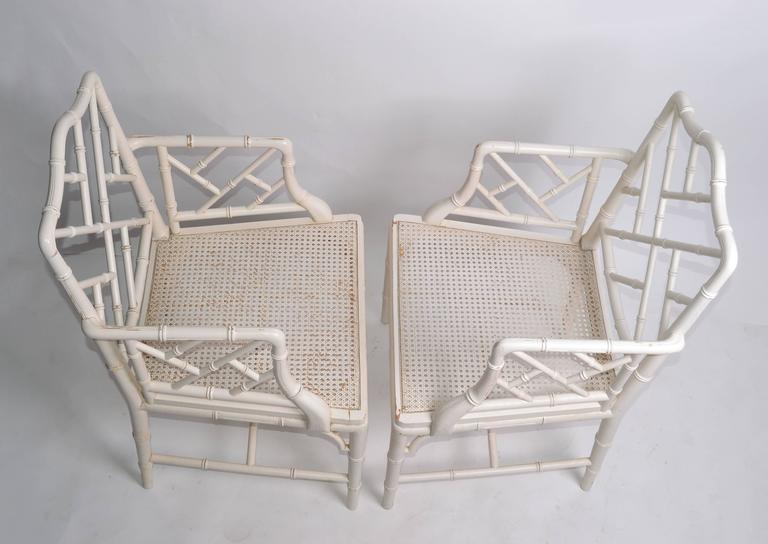 American Hollywood Regency Faux Bamboo Chippendale Armchairs, Pair For Sale