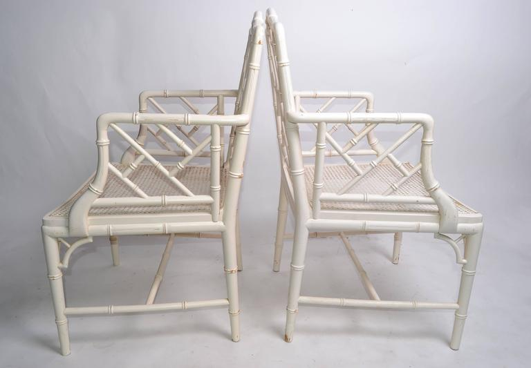Hollywood Regency Faux Bamboo Chippendale Armchairs, Pair In Good Condition For Sale In Miami, FL
