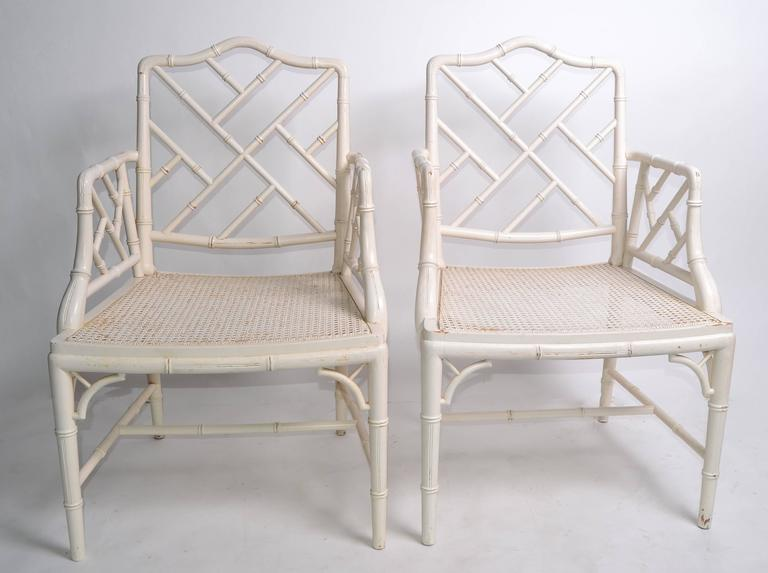 20th Century Hollywood Regency Faux Bamboo Chippendale Armchairs, Pair For Sale